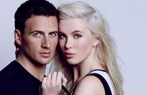 Ireland Baldwin junto a Ryan Lochte para la campaña de Calvin Klein 2014