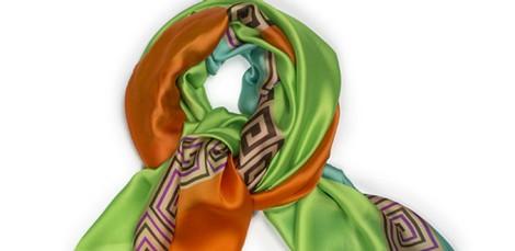 Pañuelo en naranja, verde kiwi y turquesa de la colección primavera/verano 2014 de Tantrend