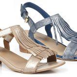 Sandalias de tacón bajo de la colección femenina de Enzo Tesoti 2014