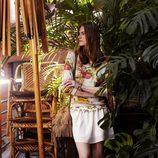 Falda de gasa y jersey floral de la colección para primavera 2014 de Springfield