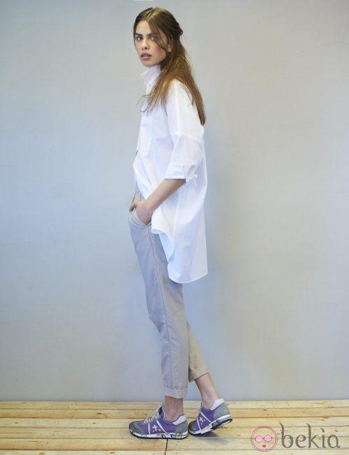 Camisa asimétrica blanca de la colección primavera/verano 2014 de Eduardo Rivera