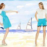 Vestido y bermuda turquesas de la colección para verano 2014 de dolores Promesas