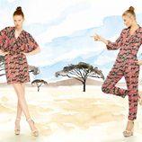 Vestido y mono largo con print animal de la colección para verano 2014 de Dolores Promesas