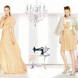 vestido largo y falda con estampado floral de la colección para verano 2014 de Dolores Promesas