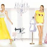 Camiseta y falda largo en amarillo de la colección para verano 2014 de Dolores Promesas