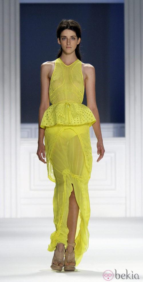 Vestido amarillo de Vera Wang, colección primavera de 2012