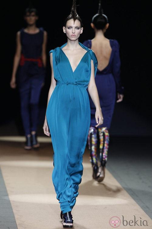 Vestido turquesa de Miguel Palacio, colección primavera de 2012