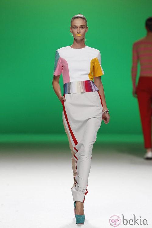 Vestido largo con retales multicolor de Davidelfín, colección primavera 2012