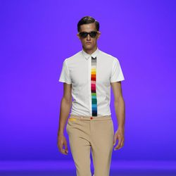 Camisa con franja multicolor de Davidelfín, colección primavera 2012