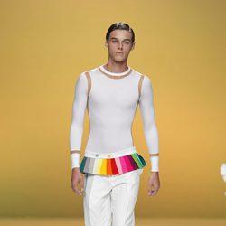 Pantalón para hombre con retales multicolor en la cintura de Davidelfín, colección primavera 2012