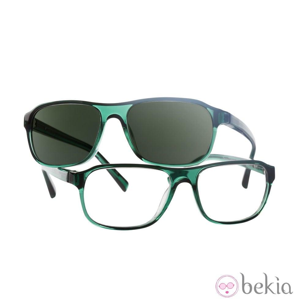Gafas con montura verde y lente verde grafito de Transitions y Etnia ...