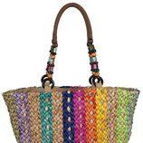 Bolso de rafia multicolor de Loeds para verano 2014