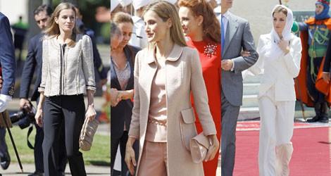 El traje de pantalón y chaqueta, imprescindible para la Reina