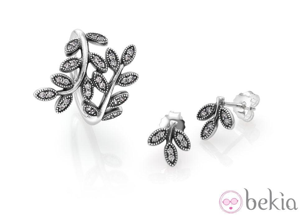 Juego de anillo y pendientes de la colección 'Hojas de Otoño' para otoño 2014 de Pandora