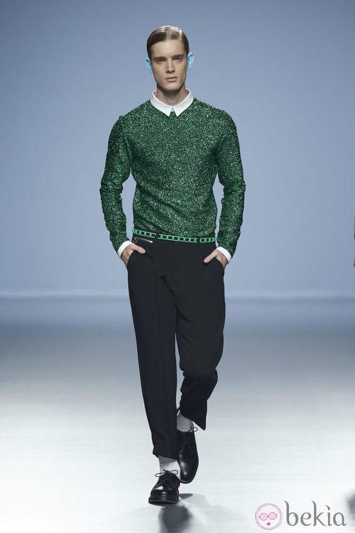 Jersey de espumillón verde de Davidelfin en Madrid Fashion Week primavera/verano 2015