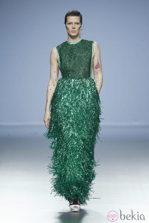 Bimba Bosé con un vestido de espumillón para Davidelfin en Madrid Fashion Week primavera/verano 2015
