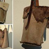 Bolsos beige y marrón de piel de cordero de Inuit para otoño/iniverno 2014