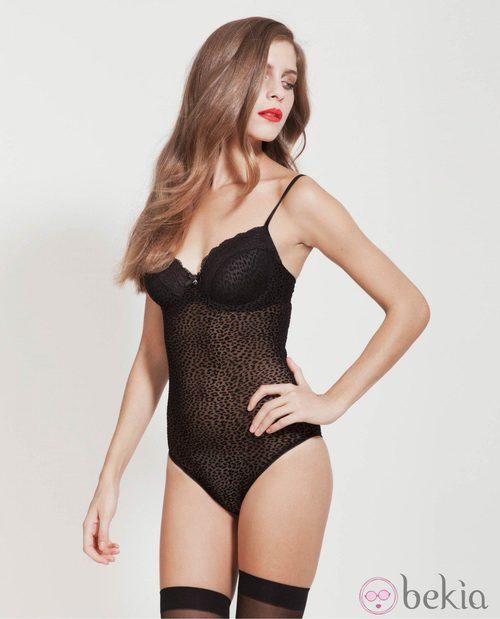 Body en negro con estampado animal de la nueva colección de Alma Bloom otoño/invierno 2014/2015