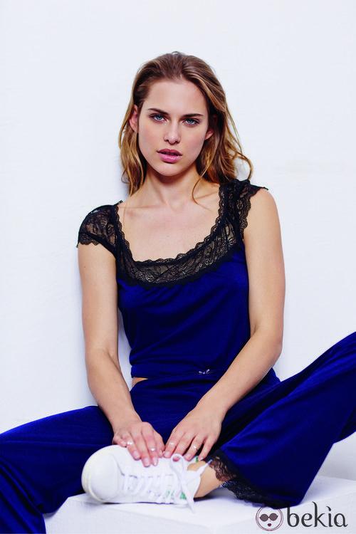 Pijama color azul electrico de la nueva colección otoño/invierno 2014 de Women'secret