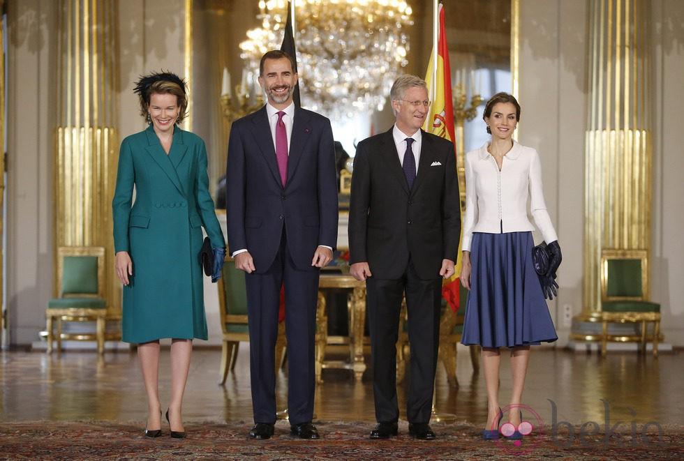 Los Reyes de Bélgica reciben a Don Felipe y Doña Letizia en Bruselas