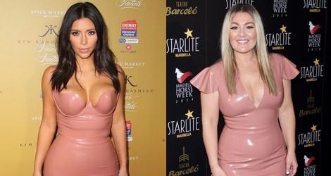 Kim Kardashian y Amaia Montero con un vestido de látex en rosa nude