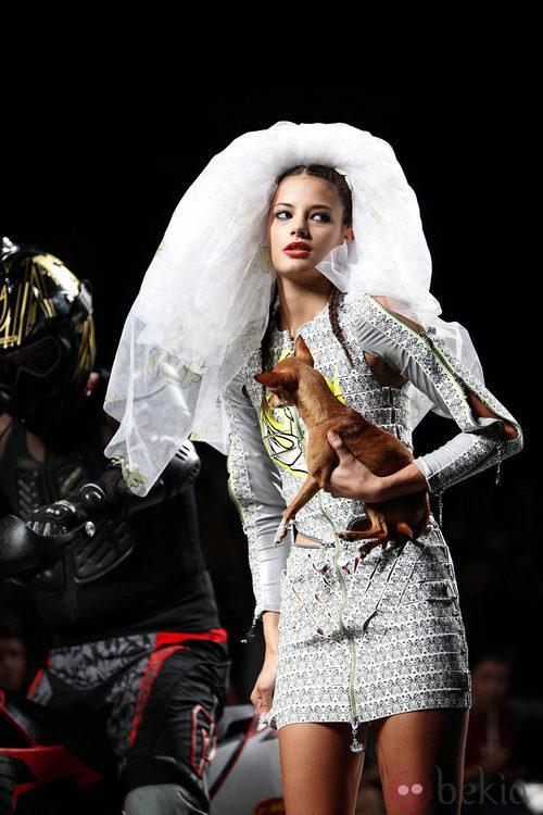 Vestido estampado María Ke Fisherman en Cibeles, colección primavera 2012