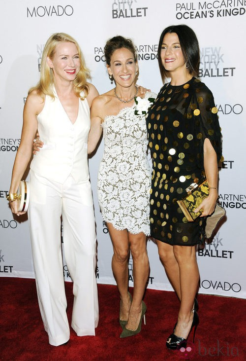 Naomi Watts, Sarah Jessica Parker y Jessica Seinfeld en el estreno de 'Ocean's kingdom'