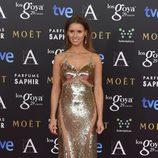 Manuela Vellés con un vestido de Elisabetta Franchi en la alfombra roja de los Premios Goya 2015