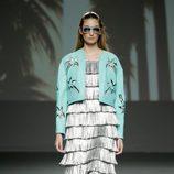 Vestido y chaqueta estampada de Natalia Rivera en el Samsung EGO 2015