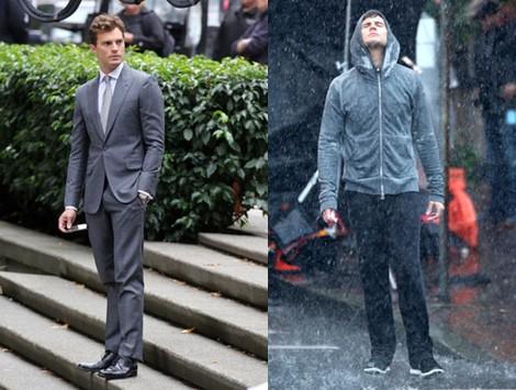 Jamie Dornan con traje gris convertido en Christian Grey