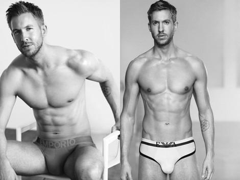 Calvin Harris con slips blancos de la colección primavera/verano 2015 de Emporio Armani