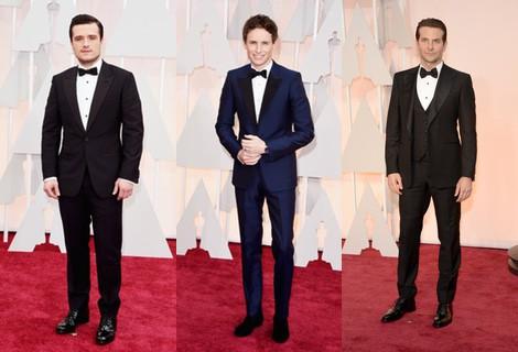 Bradley Cooper con un esmoquin negro en la alfombra roja de los Oscar 2015