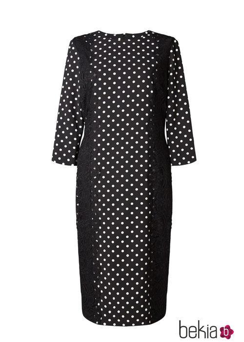 Vestido negro con lunares blancos de la colección 'V in V' de Vicky Martín Berrocal