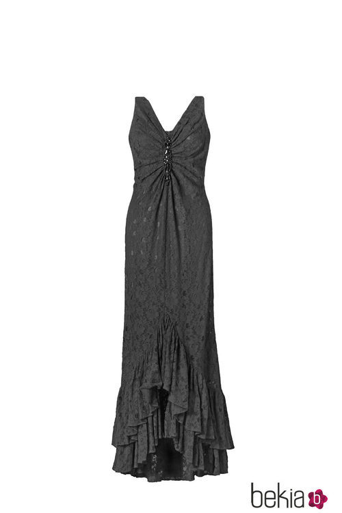 Vestido negro con volantes de la colección 'V in V' de Vicky Martín Berrocal