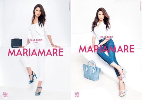 Pilar Rubio con sandalias azules de tacón de la colección primavera/verano 2015 de Maria Mare