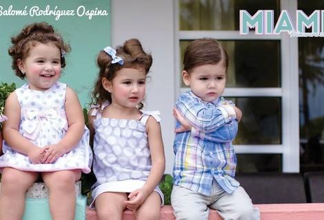 Salomé Rodríguez Ospina posando junto a dos niños más para la colección 'Miami' de EPK