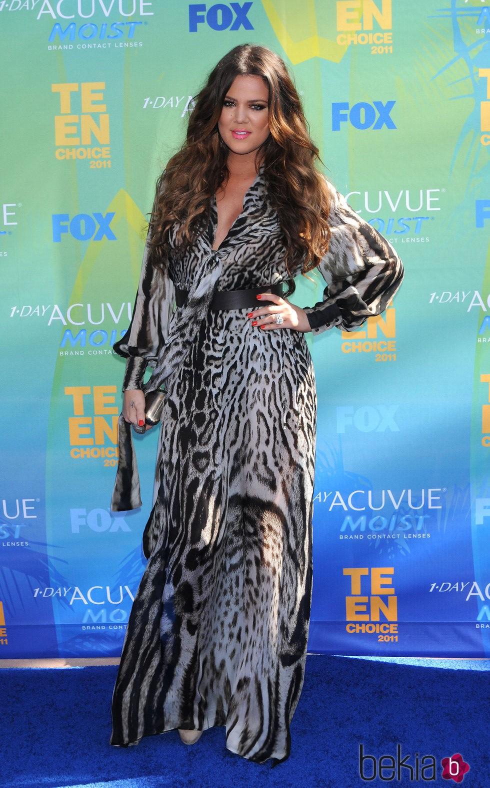 Khloe Kardashian con un vestido animal print de Roberto Cavalli en Las Vegas
