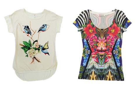 Camiseta corta con estampado primaveral de la colección primavera/verano 2015 de Barbarella