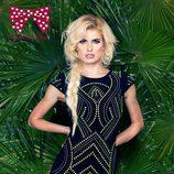 Adriana Abenia con un vestido negro y flúor la colección primavera/verano 2015 de Barbarella