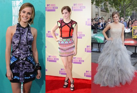 Emma Watson optó por un colorido vestido para la gala de los MTV Video Music Awards 2012