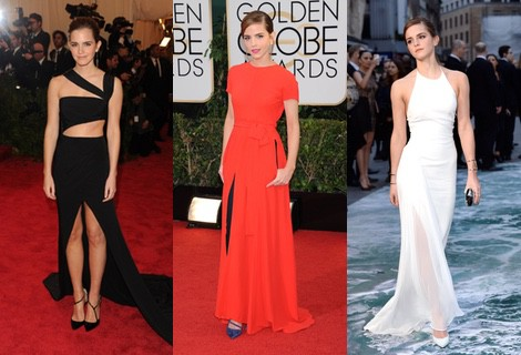 Emma Watson con un vestido blanco de Ralph Lauren