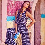 Irina Shayk con un jumpsuit geométrico de la colección primavera/verano 2015 de Bebe