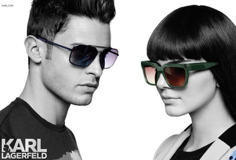 Kendall Jenner y Baptiste Giabiconi con gafas de la nueva colección de Karl Lagerfeld