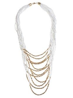 Collar con abalorios blancos y dorados de la colección 'White & Gold' de Claire's