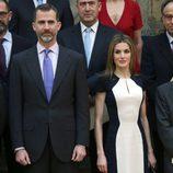 La Reina Letizia con un vestido de Carolina Herrera en la entrega de los Premios Nacionales de la Cultura 2015