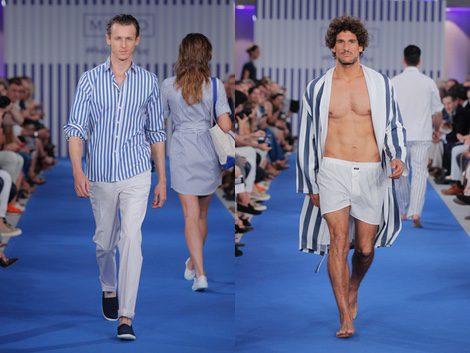 Nicolás Coronado con camisa de rayas y pantalón blanco para hombre de la colección primavera/verano 2015 de Mirto