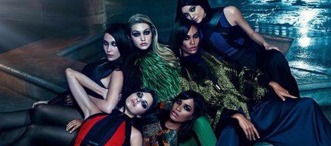 Joan y Erika Smalls, Kendall y Kylie Jenner y Bella y Gigi Hadid en la campaña otoño 2015 de Balmain