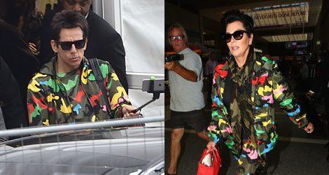 Kris Jenner con un look de camuflaje firmado por Valentino