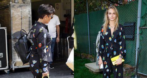 Cara Delevingne con un jumpsuit de estampado de huevos de Pascua de Stella McCartney