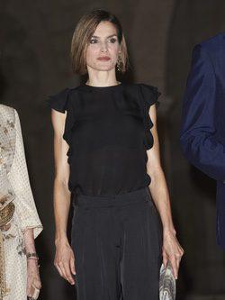 La Reina Letizia con un look total black en la recepción a las autoridades en Mallorca